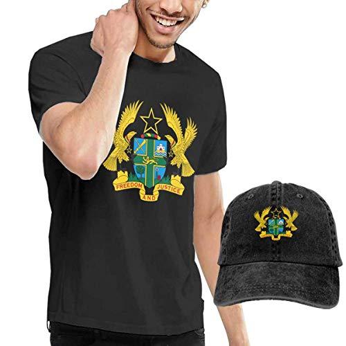 sunminey Homme T- T-Shirt Polos et Chemises Men's Coat of Arms of Ghana National Emblem T-Shirts Top with Denim Hat
