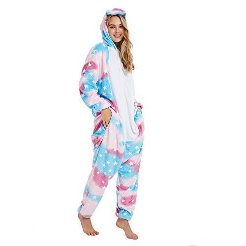 Missley Einhorn Pyjamas Kostüm Overall Tier Nachtwäsche Erwachsene Unisex Cosplay (M, Star)