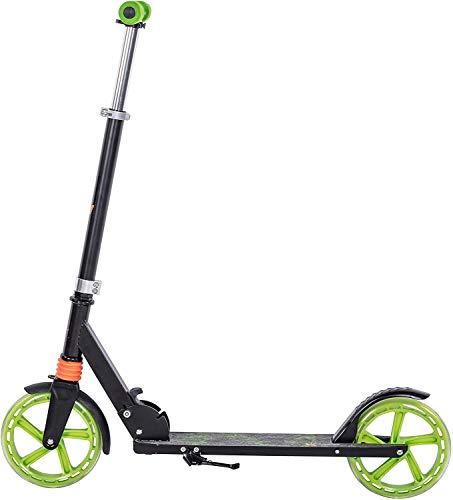 Clamaro \'Sidekick\' 205mm Cityroller Tretroller gefedert, bis 100 kg belastbar, zusammenklappbar, höhenverstellbar, Scooter Kickroller mit Reibungsbremse, für Kinder und Erwachsene, Black/Green