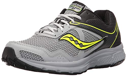 Saucony Men's Cohesion 10 Running Shoe, Black/Grey/Citron, 9.5 M US