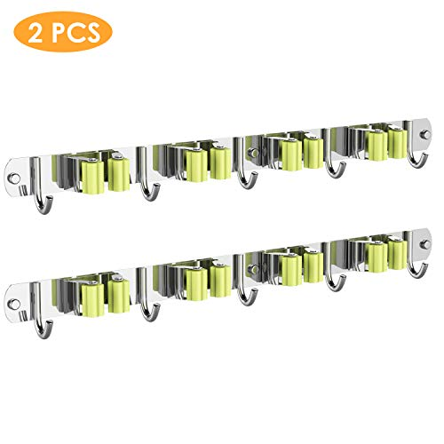 Utility Tool Mop Rack,Stainless Steel Garden Storage Box, Hanger with 4 Racks 5 Hooks, for Bathroom Kitchen and Garden,Screw or Adhesive Mounting kit, 2 Pack