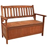 Sunnydaze Decor Meranti Wood 2-Seat Storage Bench with Teak Oil Finish - Decorative Outdoor Storage Bench - Provides Seating for Two Adults - Perfect for The Deck, Backyard, Patio or Front Porch