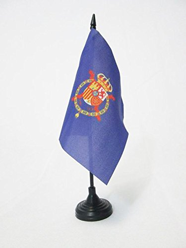 AZ FLAG Bandera de Mesa del ESTANDARTE del Rey Juan Carlos I DE ESPAÑA 15x15cm - BANDERINA de DESPACHO Real DE ESPAÑA 15 x 15 cm
