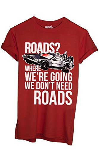 MUSH T-Shirt Delorean Strade Ritorno al Futuro - Film by Dress Your Style - Uomo-L-Rossa