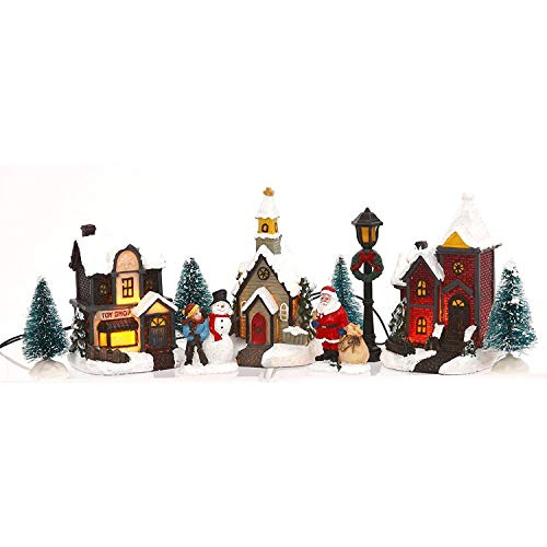 Miniature Lighted 10-Piece Christmas Village Scenes - Tabletop Holiday Decorations (Santa)