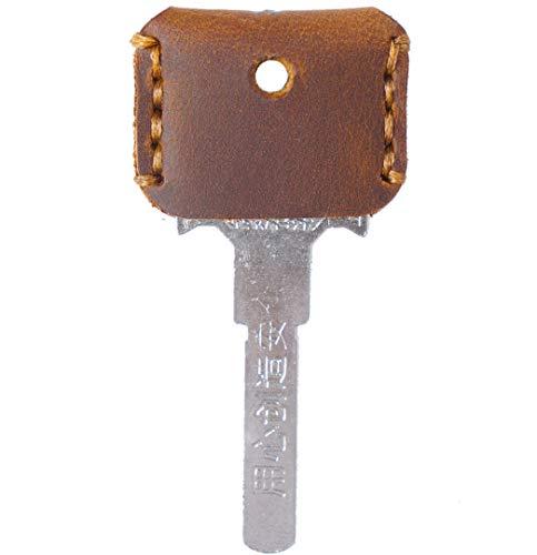 [FREESE] キーカバー 本革 キーケース 【味わい深い皮生地】 キーキャップ アンティーク レザー 鍵 収納 ケース メンズ(ブラウン)