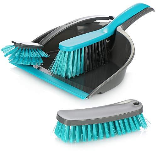 com-four® 4-teiliges Reinigungs-Set, Handfeger, Kehrschaufel, Handbürste und Allzweckbürste, perfektes Reinigungs-Starterset (türkis-anthrazit)