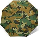 Sombrilla de sombrilla de triple pliegue con diseño de camuflaje verde
