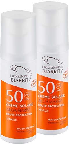 2er Pack Alga Maris Sonnencreme fürs Gesicht LSF50 50ml | BIO zertifizierte Naturkosmetik von Laboratoires de Biarritz | mit Sofortschutz und ohne Weißeleffekt