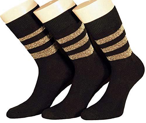 Shimasocks Damen Socken Metallfadenringel 3er Pack, Farben alle:gold, Größe:39/42