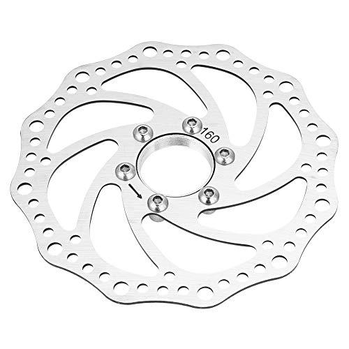 Keenso Fahrradbremsscheiben, Edelstahl 160 mm Scheibenbremsscheibe Mountainbike-Bremsscheiben Gewinde-Naben Bremsscheibe Rotor Flanschadapter mit 6 Schrauben