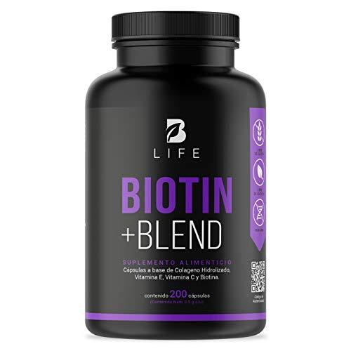 Biotina de 200 Cápsulas con Colágeno, Vitamina E y Vitamina C. Biotin + Blend B Life Mayores de 6 años