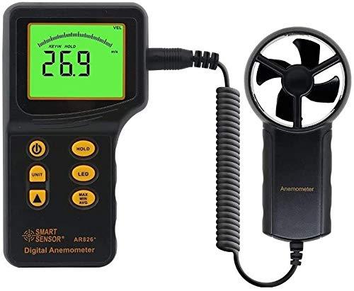Instrumento de velocidad del viento Anemómetro digital anemómetro medidor de velocidad del viento para medir la velocidad del viento, la temperatura, el medidor de flujo de aire con la luz de fondo LC