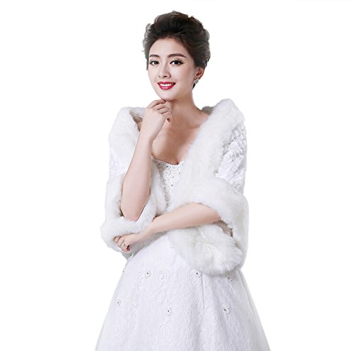 Capa de piel sintética de Jungen Wrap robó chal bolero chaqueta Bolero de novia vestido de novia accesorios invierno y otoño blanco