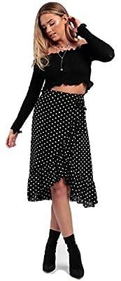 Momo&Ayat Fashions Ladies Tie Leopard Print Wrap Frill Midi Ruffle Skirt US 2-10