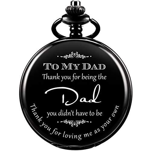 Dad Gift, Reloj De Bolsillo Grabado ManChDa para Hombre con Cadena, Gracias por Amarme como Tuyo, Reloj De Bolsillo para Suegro, Padrastro, Regalo del Día del Padre (Negro)