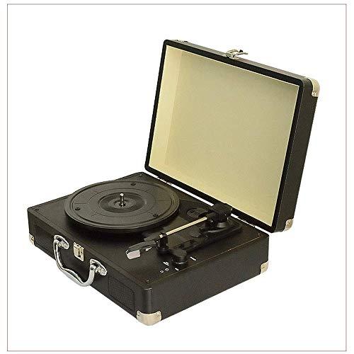 Vintage vinilo gramófono Aspecto de cuero de la PU de madera triangular del tubo de aluminio...