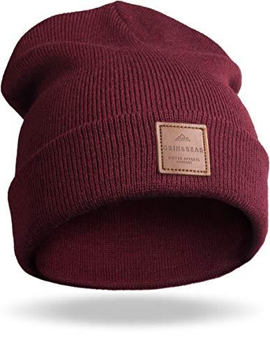 Grin&Bear Unisex Streetwear Mütze Beanie Feinstrick weinrot M65