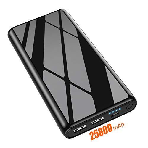 Feob Powerbank 25800mAh Hoher Kapazität Power Bank 【Kratzfestes Shell Design】Externer Akku, 4 LED-Licht + Doppelter Ausgang Gleichzeitiges Laden Akkupack für iPhone, Samsung und Laptop