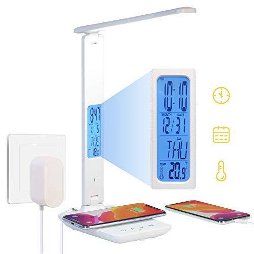 Dumcuw Lámpara de Escritorio LED con Cargador inalámbrico, Puerto de Carga USB, lámpara de Escritorio Plegable Reloj, Alarma, Fecha, Temperatura, lámpara de Mesa de Oficina con Adaptador (Blanco)