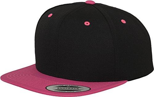 Yupoong Flexfit Unisex Kappe Classic Snapback 2-Tone, zweifarbige blanko Cap mit geradem Schirm, One Size Einheitsgröße für Männer und Frauen, Farbe blk/neonpink