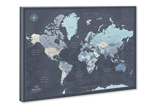 World Travel Map Push Pin on Canvas - Detailed World Map Pin Board - Travel Destinations Map World...