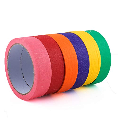 Colored Masking Tape - 6 Rolls of 1 Inch x 65 Ft Color Painters Tape - Art & Crafts Supplies - Decorative Crafting Paper Tape for Kids Teachers & Artists - for Labeling, Drafting, Scrapbooking