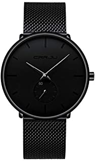 Mens Watch Ultra Thin Wrist Watches for Men Fashion Waterproof Dress Stainless Steel Band/Leather Strap