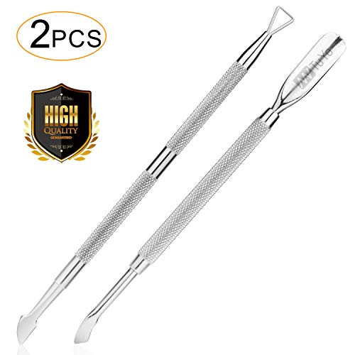 2PCS Cuticle Pusher and Cutter Set, Triangle Cuticle Nail Pusher Peeler Scraper, Professional Grade Stainless Steel Cuticle Remover, Durable Pedicure Manicure Tools for Fingernails Toenails by NANTuYo