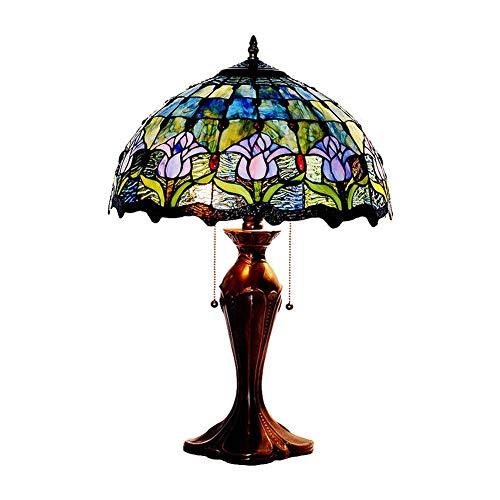 HLL Lámpara de mesa de estilo azul, 2 luces Tulipán Accesorios de iluminación para sala de estar Base de aleación de zinc de 40 W H 锛? 4 pulgadas para dormitorio Comedor-B,A