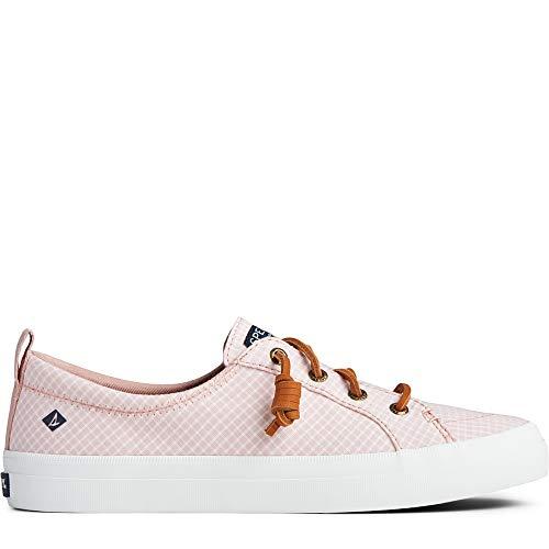 Sperry Women's Crest Vibe Mini Check Sneaker, Coral/White, 7 M US