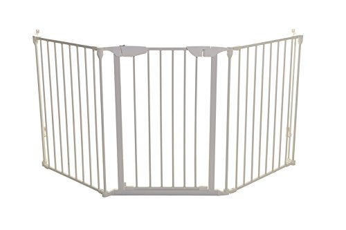 Dreambaby Newport Adapta Baby Gate - Use at Top or Bottom of Stairs - for Straight, Angled or Irregular Shaped Openings (White)