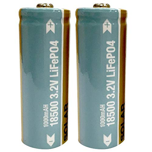 Hampton Bay Lithium Phosphate 1000mAh Solar Rechargeable 18500 3.2V LiFePO4 Batteries (2-Pack)