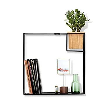 Umbra Cubist Floating Shelf with Built-In Succulent Planter – Modern Wall Décor and Geometric Display Shelf for Books, Candles, Mementos, Photos, Indoor Plants and More! | Large, Black