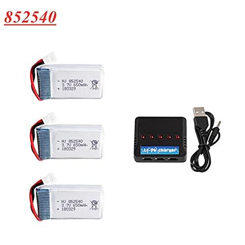 V-MAXZONE Batteria lipo 3.7V 650mAh 25c + Caricatore 5 in 1 per syma X5C X5C-1 X5 H5C X5SW X6SW H9D H5C Drone Pezzi di Ricambio 852540 Batteria 3.7V ( Color : Black )