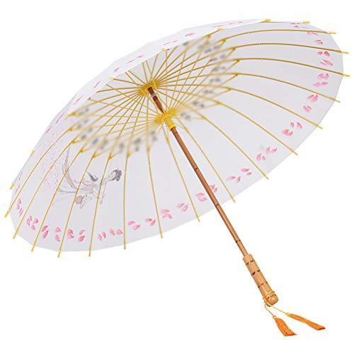 Persoonlijkheid 24 Bot Massief Hout Ambacht Paraplu, Vintage Lange Steel Straight Pool Gift Paraplu Met Opknoping Ontwerp Paraplu Hoed Voor Mooi Meisje [Energy Class A],A
