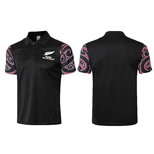 JUNBABY Maori All Blacks Camiseta De Rugby, Polo All Black Rugby para Hombre, Camiseta Maori Rugby-Black-XXXL
