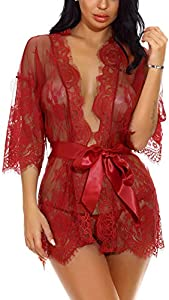 Sykooria Conjunto de Lencería Sexy Bata de Encaje Babydoll Kimono Ropa de Dormir Escote en V Profundo Camisón Camisón Ropa de Dormir Suave