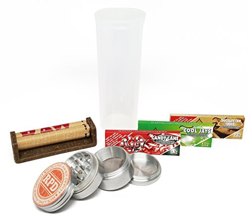 "Bundle - 6 Items - 3 Packs of Juicy Jays Rolling Paper""Holiday Flavors"" with RAW Cigarette Roller, Grinder and Storage Container"