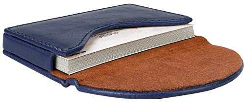 MaxGear Leather Business Card Holder Case for Men or Women Name Card Case Holder with Magnetic Shut Color Navy, Holds 25 Business Cards