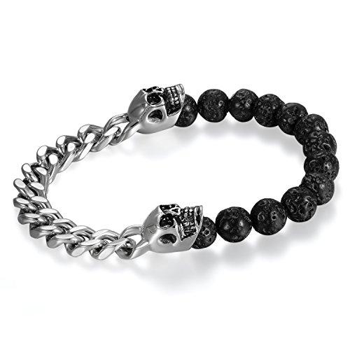 Cupimatch Herren Damen Lava Edelsatahl Schädel Armband, Totenkopf Buddha Kugel Biker Panzerkette Rock Armreif, Silber schwarz
