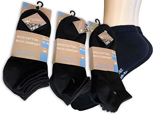 Lieblingsstrumpf24 6 Paar Füsslinge Sneaker Socken 98% Baumwolle Schwarz (43-46)