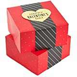 Hallmark 8' Small Gift Boxes (Pack of 2: Red with Black and Gold Wrap Band) for Jewelry, Wrapped Candy, Small Toys, Gift Cards for Valentine's Day