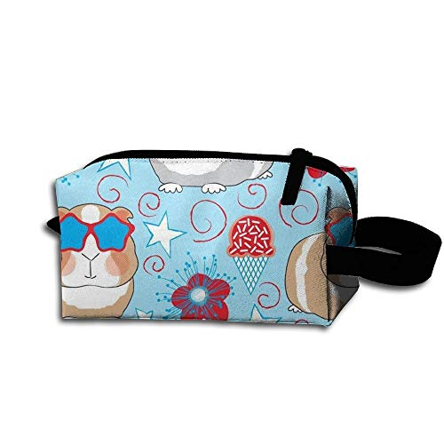 Travel Makeup Guinea Pigs On Blue Beautiful Waterproof Cosmetic Bag Quick Makeup Bag Pencil Case