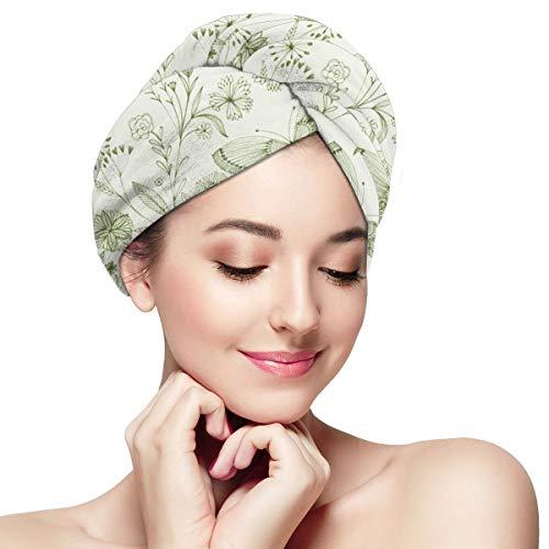 Bethan Janine - Toalla de pelo con botánica dibujada a mano por Bethan Janine, toalla de pelo de microfibra, sombrero de pelo seco, gorro de baño