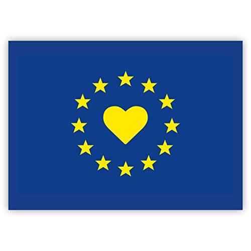 10 x Aufkleber Europa / EU-Flagge / EU-Sticker mit Herz