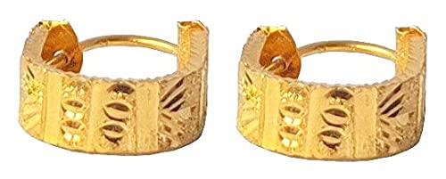 Sólido puro de 18 quilates 18 quilates amarillo fino diseño del extracto del oro del corazón pendientes del aro de los 2.8CM Altura-Ancho-el 1.2CM para las mujeres, las niñas, niños, para hombre Bali