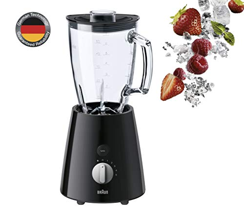 Braun TributeCollection JB 3060 Standmixer | 800 W Leistung | 24.500 U/min | 1,75 l ThermoResist Glas Mixbehälter | Geeignet als Smoothie Maker, Ice Crusher | Schwarz