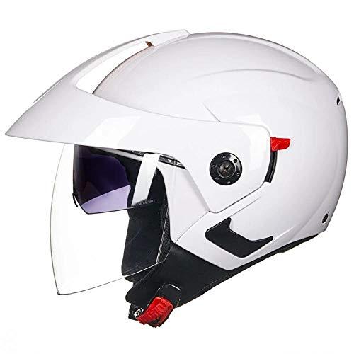Claean-Acces-Home Abus Fahrradhelm Kinder Herren Motorrad Halbhelme Dual Lens Scooter Moto Helm Casco Vespa Village Reiten Motocross weiß-Weiß_XL