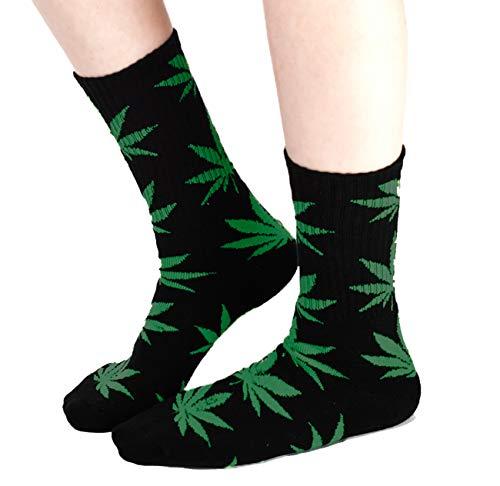 Cómodos calcetines de altura media con diseño de hojas de mariguana - Morefaz Ltd